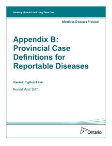 Appendix B: Provincial Case Definitions for Reportable Diseases