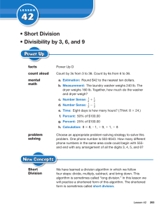 • Short Division • Divisibility by 3, 6, and 9