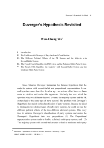Duverger`s Hypothesis Revisited