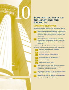 Substantive Tests of Transactions and Balances