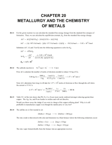 CHAPTER 20 METALLURGY AND THE CHEMISTRY OF METALS