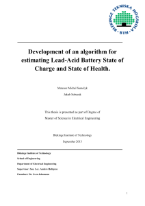 Development of an algorithm for estimating Lead-Acid Battery