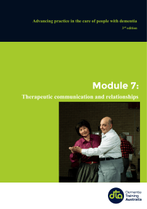 Module 7 – Therapeutic communication and relationships