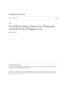 Pharmacists` Standard of Care in Negligence Law