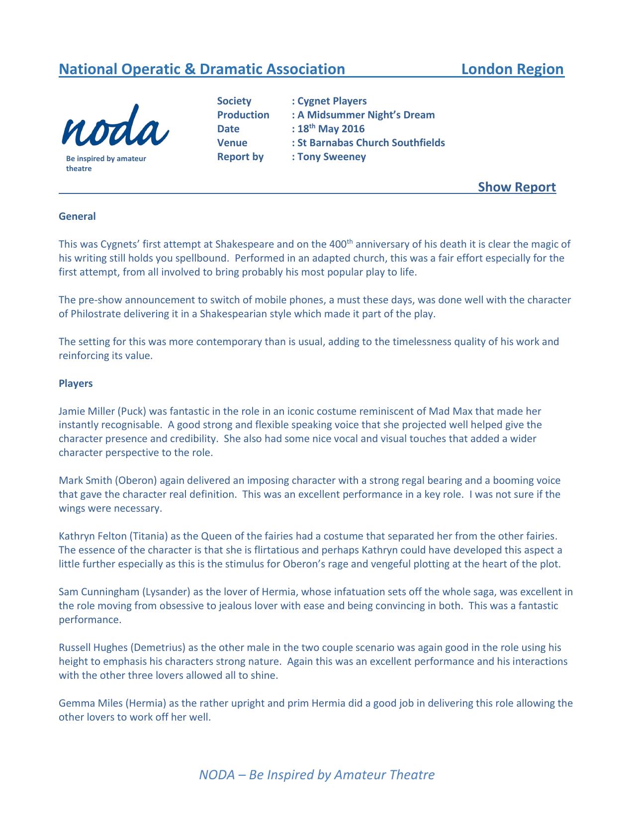 A Midsummer Night\`s Dream NODA review