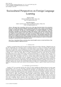 Sociocultural Perspectives on Foreign Language Learning