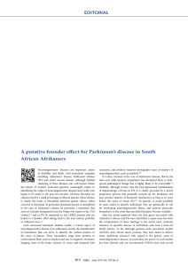 A putative founder effect for Parkinson`s disease in South African