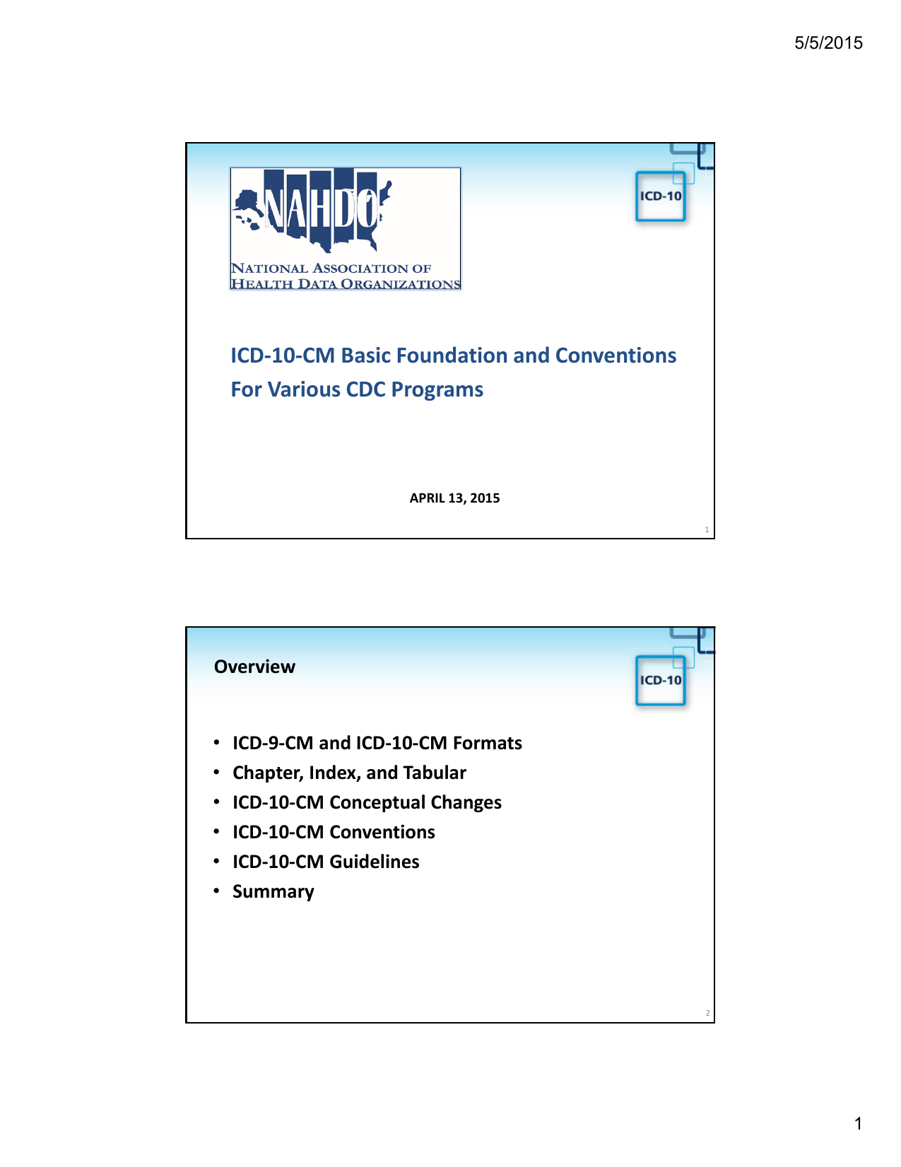 ICD-10-CM Basic Foundation and Conventions For