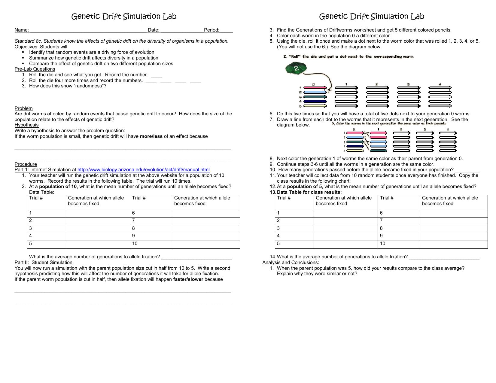 Genetic Drift Simulation Lab Genetic Drift Simulation Lab – Genetic Drift Worksheet