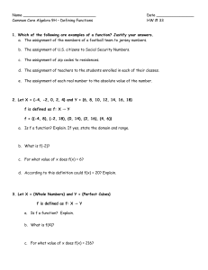 Common Core Algebra 9H – Defining Functions HW # 33 1. Which of