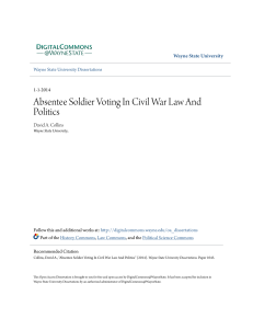 Absentee Soldier Voting In Civil War Law And Politics