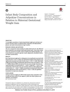 Infant Body Composition and Adipokine Concentrations in Relation