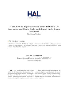 MERCURY In-flight calibration of the PHEBUS UV instrument and