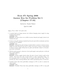 Econ 371 Spring 2006 Answer Key for Problem Set 5 (Chapter 17-18)