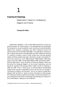 Opening Archaeology Repatriation`s Impact on Contemporary