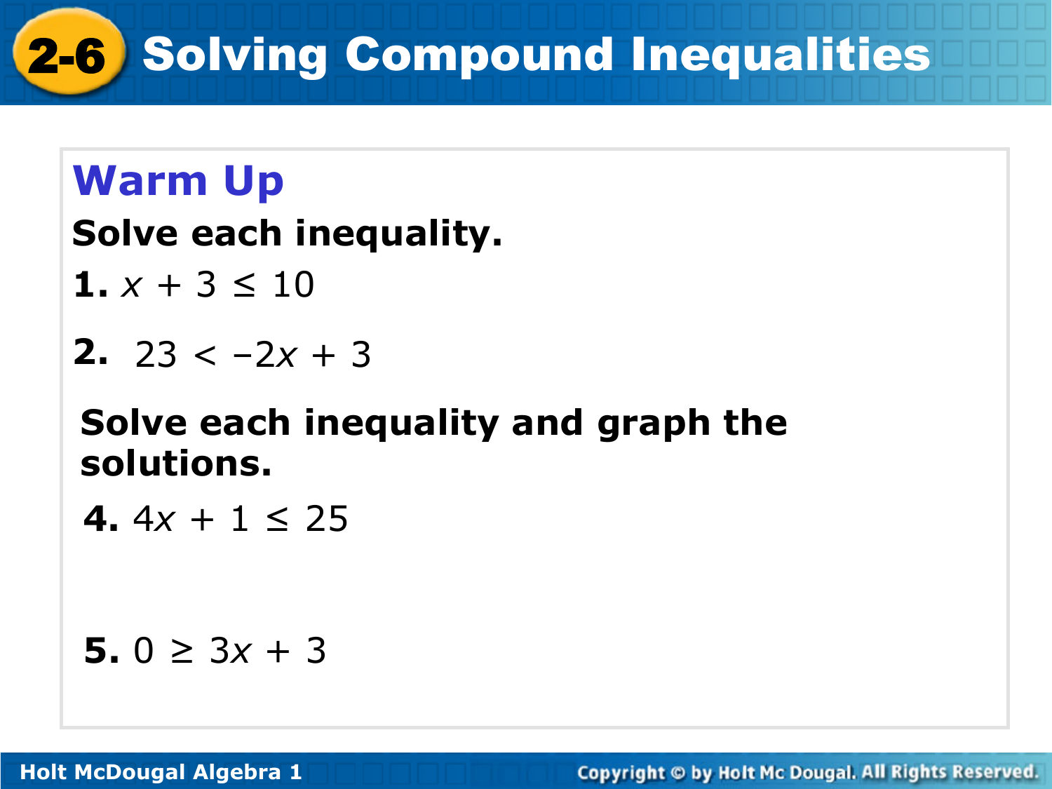 - 2-6 Solving Compound Inequalities