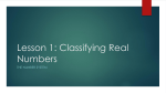 Lesson 1: Classifying Real Numbers
