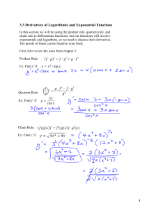 3.3 Derivatives of Logarithmic and Exponential Functions (10/21