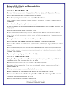 Patient`s Bill of Rights and Responsibilities