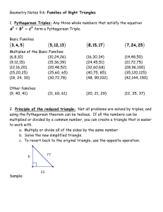 Families of Right Triangles 1. Pythagorean Triples