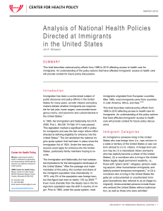 Analysis of National Health Policies Directed at Immigrants
