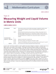 Measuring Weight and Liquid Volume in Metric Units