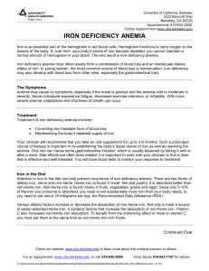 Iron Deficiency - University of California, Berkeley