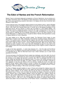 The Edict of Nantes and the French Reformation
