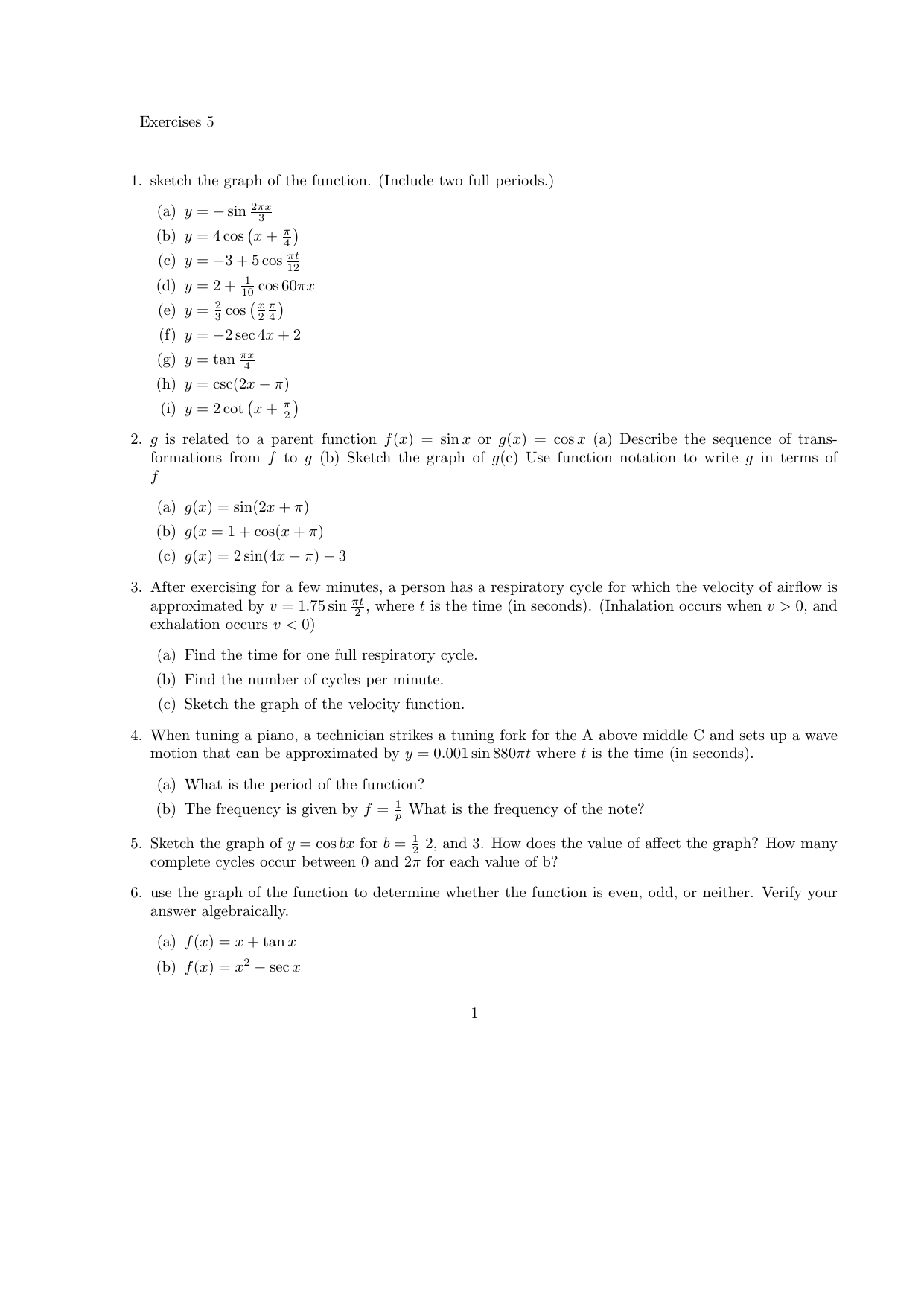 Exercises 5 1  sketch the graph of the function  (Include