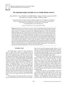 The beginning heights and light curves of high