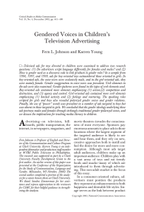 Gendered Voices in Children`s Television Advertising