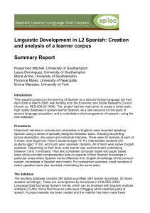 Linguistic Development in L2 Spanish: Creation and analysis of a
