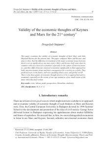 Validity of the economic thoughts of Keynes and Marx for the 21st
