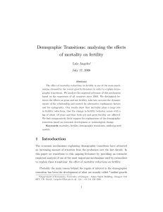 Demographic Transitions: analyzing the effects of mortality on fertility