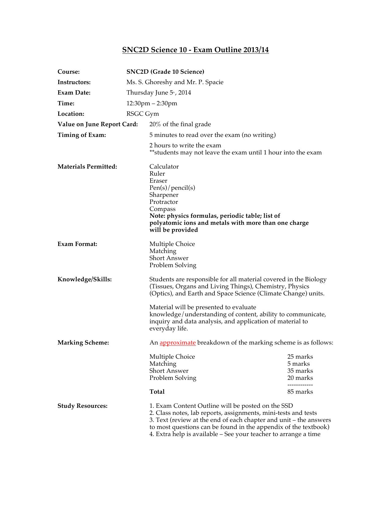 SNC2D Science 10 - Exam Outline 2013/14
