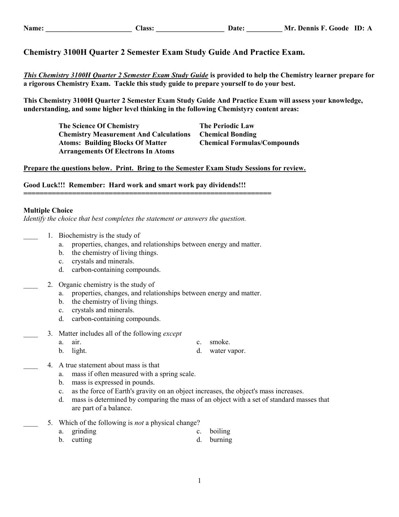 Chemistry 3100H Quarter 2 Semester Practice Exam