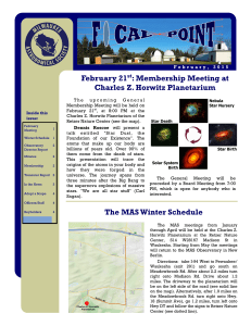 The MAS Winter Schedule February 21st: Membership Meeting at