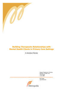 Building Therapeutic Relationships with Mental Health