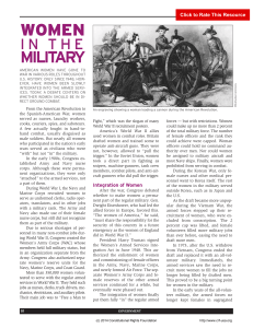 Women in the Military - Constitutional Rights Foundation