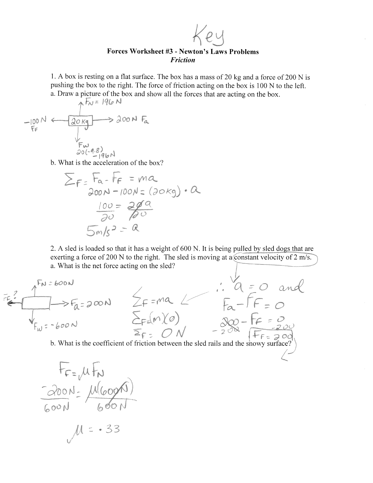 coefficient of friction worksheet answers a hockey puck ...