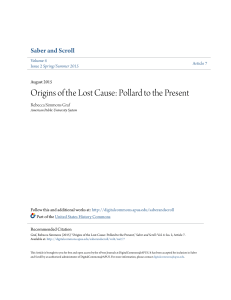 Origins of the Lost Cause: Pollard to the Present