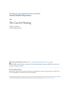 The Case for Hunting - Animal Studies Repository