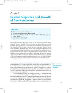 Crystal Properties and Growth of Semiconductors
