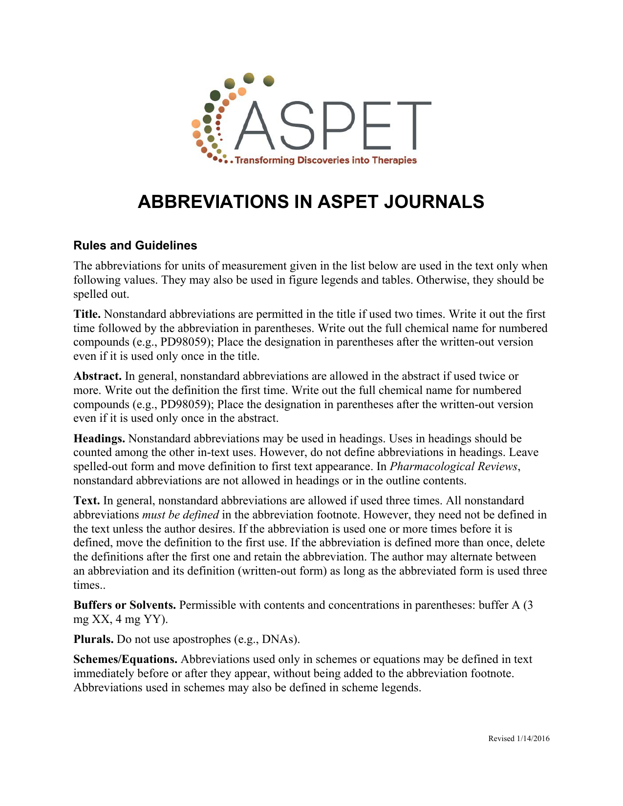 ABBREVIATIONS IN ASPET JOURNALS