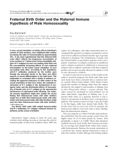 Fraternal Birth Order and the Maternal Immune Hypothesis of Male