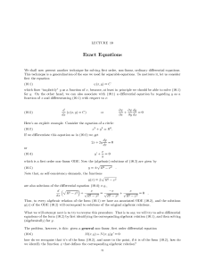 Lecture 10: Exact Equations