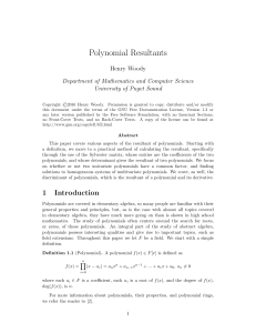 Polynomial Resultants - University of Puget Sound