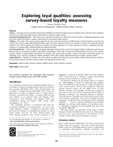 Exploring loyal qualities: assessing survey-based