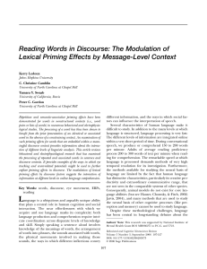 Reading Words in Discourse: The Modulation of - UNC