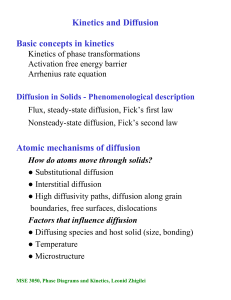 Kinetics and Diffusion Basic concepts in kinetics